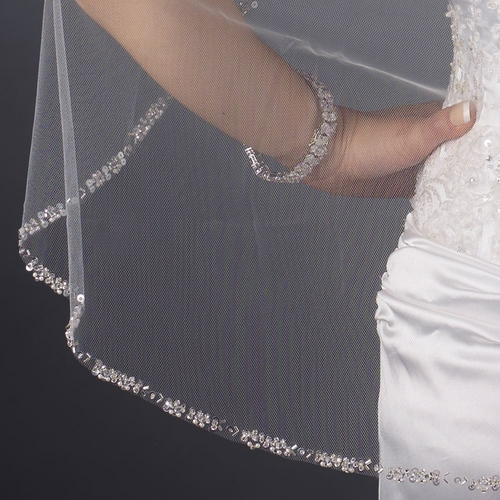 Single Layer Elbow Length Cut Edge with Pearls, Bugle Beads & Sequins Veil 2525 1F