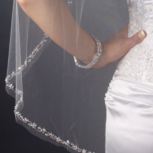 Single Layer Fingertip Length Cut Edge with Pearls, Rhinestones, Bugle Beads & Sequins Veil 2499 1F