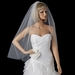 Single Layer Fingertip Length Cut Edge with Scattered Rhinestones Veil 2221 1F