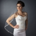 Single Layer Fingertip Length Cut Floral Swirl Embroidered Raw Edge with Sequins Veil 2563 1F