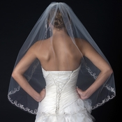 Single Layer Fingertip Length Cut Edge Veil with Swirly Embroidery, Pearls & Sequins V 2565 1F