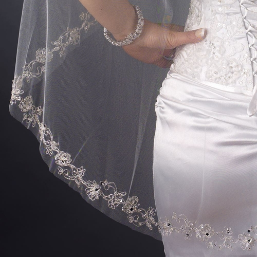 Single Layer Fingertip Length Embroidered Floral Bugle Beaded Edge Veil 1051 1F