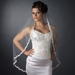 Single Layer Fingertip Length Embroidered Lace Flowers & Pearls Bridal Veil V 2030 1F