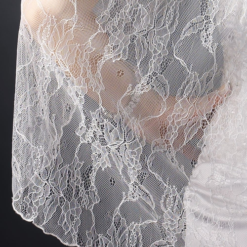 Single Layer Fingertip Length Embroidered Lace Veil 1048 1F