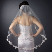 Single Layer Fingertip Length Bridal Veil Embroidered Floral Flowers Leaves with Pearls V 1042 1F