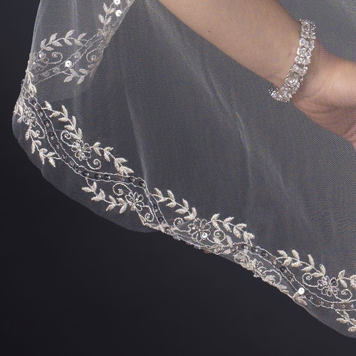 Single Layer Fingertip Length Emrboidered Floral Leaves with Sequins Veil 1045 1F