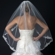 Single Layer Fingertip Length Floral Embroidery Edge Veil with Beads & Sequins V 1165 1F