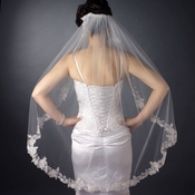 Single Layer Fingertip Length Floral Lace Embroidered Edge with Pearls Veil 2237 1F