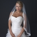 Single Layer Fingertip Length Floral Ivory Lace Embroidered Bridal Wedding Veil with Rhinestones V 1142 1F