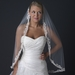Ivory Rum Accented Single Layer Fingertip Length Floral Lace Embroidery Edge Veil with Rhinestones V 1143 1F