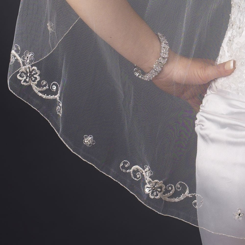 Single Layer Fingertip Length Pencil Edge with Embroidered Floral Swirl Design, Pearls & Sequins Veil 1157 1F