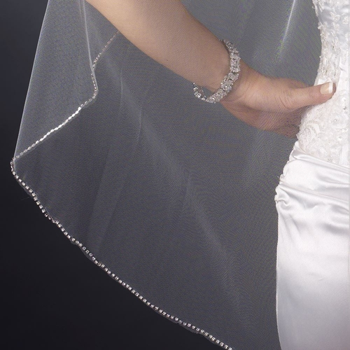 Single Layer Ivory Fingertip Length Rhinestone Edge Veil 1043 1F