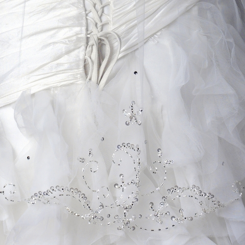 Single Layer Fingertip Length Scalloped Cut Edge Veil with Floral Beaded Embroidery & Sequins V 1133 1F