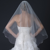 Doube Layer Fingertip Length Scalloped Cut Edge Veil with Scattered Flower Crystals & Silver Stitching V 2542 F
