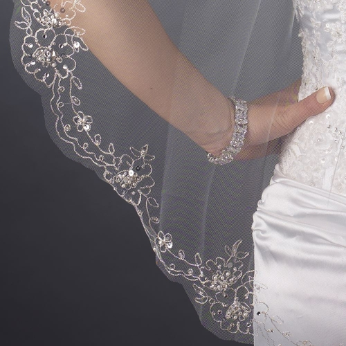 Single Layer Fingertip Length Scalloped Cut Edge with Silver Stictching Floral Embroidery, Bugle Beads, Sequins Veil 2562 1F