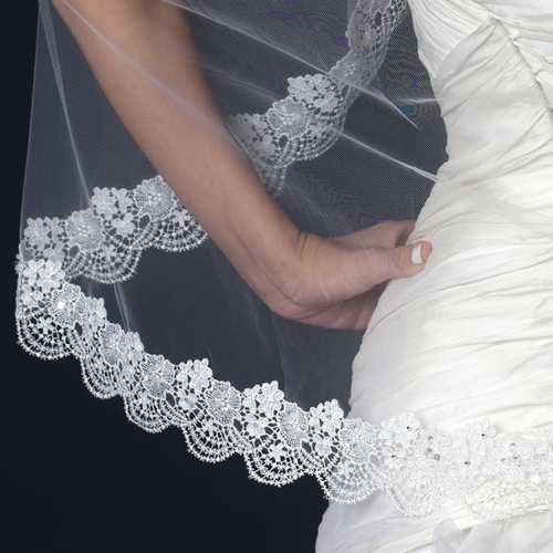 Single Layer Fingertip Length Lace Scalloped Edge Veil with Floral Embroidery V 1129 1F
