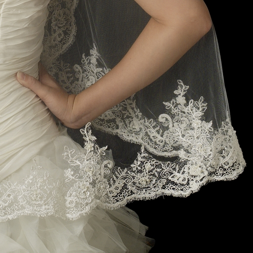 Single Layer Fingertip Length Scalloped Edge Veil with Floral Lace Embroidery, Pearls, Rhinestones, Bugle Beads & Sequins