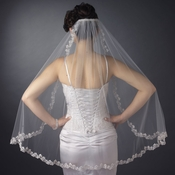Single Layer Fingertip Length Scalloped Embroidered Edge with Bugle Beads Veil 3936 1F***Discontinued***