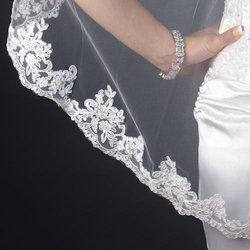 Single Layer Fingertip Length Scalloped Floral Embroidered Edge with Bugle Beads & Pearls Veil 2138 1F