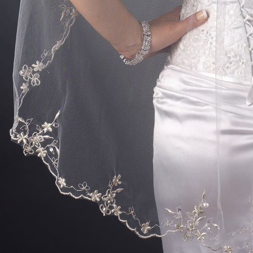 Single Layer Fingertip Length Scalloped Floral Embroidered Edge with Bugle Beads & Sequins Veil 1046 1F