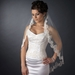 Single Layer Fingertip Length Scalloped Floral Embroidered Edge with Pearls Veil 2220 1F