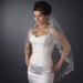 Single Layer Fingertip Length Silver Floral Embroidered Edge with Pearls & Bugle Beads Veil 2283 1F
