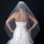 Single Layer Fingertip Bridal Veil with freshwater pearls, rhinestones & bugle beads V 1130 1F