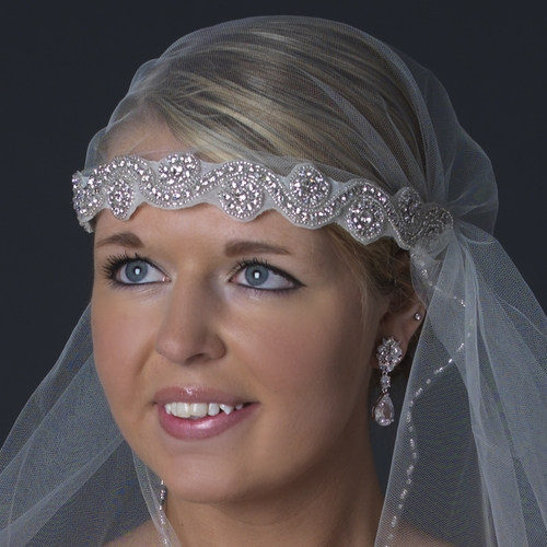 Single Layer Waltz Length Beaded Cut Edge Victorian Style Headband Veil V 2658 W
