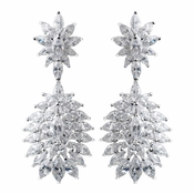 Solid 925 Sterling Silver Clear CZ Crystal Leaf Burst Earrings 9262