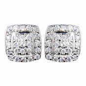 Solid 925 Sterling Silver Pave Square CZ Crystal Earrings 9989