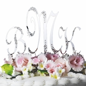 Sparkle ~ Crystal Accented Monogram Wedding Cake Topper Set