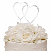 Sparkle ~ Swarovski Crystal Wedding Cake Topper ~ Double Large Silver Heart