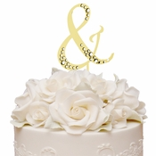 Sparkle ~ Swarovski Crystal Wedding Cake Topper ~ Gold Ampersand &
