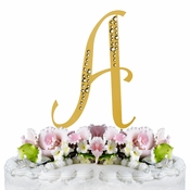 Sparkle ~ Swarovski Crystal Wedding Cake Topper ~ Gold Letter A