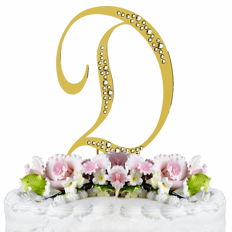 sparkle swarovski crystal wedding cake topper gold letter d