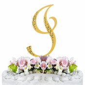 Sparkle ~ Swarovski Crystal Wedding Cake Topper ~ Gold Letter I