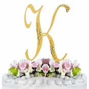 Sparkle ~ Swarovski Crystal Wedding Cake Topper ~ Gold Letter K