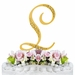 Sparkle ~ Swarovski Crystal Wedding Cake Topper ~ Gold Letter L