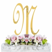 Sparkle ~ Swarovski Crystal Wedding Cake Topper ~ Gold Letter M