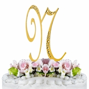 Sparkle ~ Swarovski Crystal Wedding Cake Topper ~ Gold Letter N