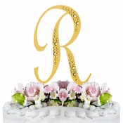 Sparkle ~ Swarovski Crystal Wedding Cake Topper ~ Gold Letter R