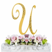 Sparkle ~ Swarovski Crystal Wedding Cake Topper ~ Gold Letter U