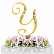 Sparkle ~ Swarovski Crystal Wedding Cake Topper ~ Gold Letter Y