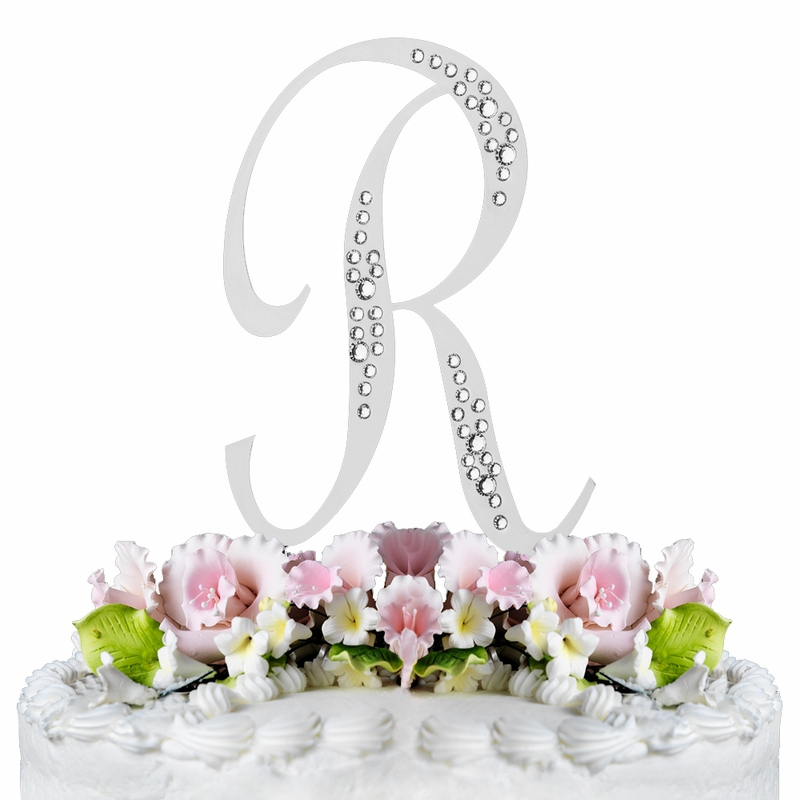 wedding cake topper letter r sparkle swarovski wedding cake topper silver 26350