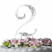 Sparkle ~ Swarovski Crystal Wedding Cake Topper ~ Silver Number 2