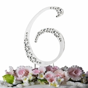 Sparkle ~ Swarovski Crystal Wedding Cake Topper ~ Silver Number 6