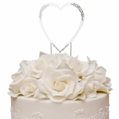 Sparkle ~ Swarovski Crystal Wedding Cake Topper ~ Single Large Silver Heart