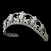 Sparkling Rhinestone & Swarovski Crystal Covered Tiara with AB Iridescent Accents in Silver 523***Discontinued***