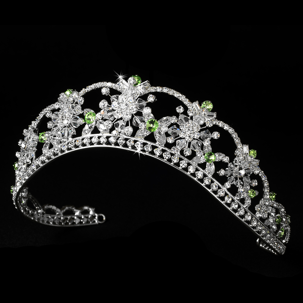 Sparkling Rhinestone   Swarovski Crystal Covered Tiara with Green Accents  in Silver 523 12b74c7c4