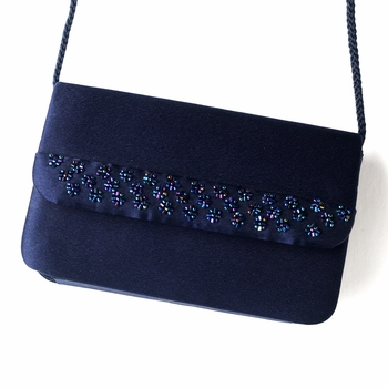 * Splendid Navy Satin Beaded Evening Bag 207